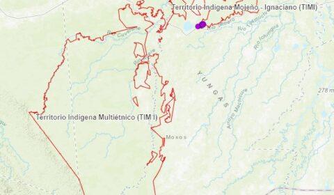 Mapa de ubicación del Territorio Indígena Multiétnico I (TIM I) y el Territorio Indigena Mojeño Ignaciano (TIMI), Con datos recabados en campo